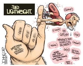 Political Cartoon U.S. Trump Impeachment Jim Jordan Lightweight
