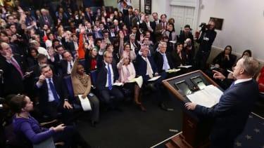 Sean Spicer leading press briefing.