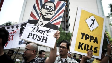Malaysians protest the Trans-Pacific Partnership Agreement in 2014.