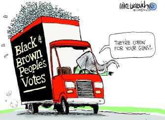 Political Cartoon U.S. gopvoter suppressiongun laws