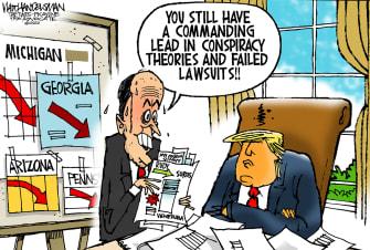 Political Cartoon U.S. Giuliani Trump conspiracy theories