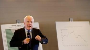 U.S. Sen. John McCain speaks during a town hall meeting in Arizona, Feb. 19.