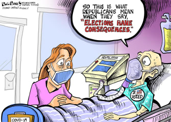 Political Cartoon U.S. Wisconsin election risked vulnerable to coronavirus GOP consequences