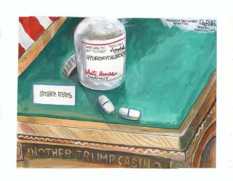 Political Cartoon U.S. Trump hydroxychloroquine gamble