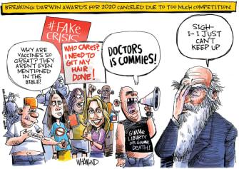 Editorial Cartoon U.S. anti lockdown protesters darwin awards coronavirus