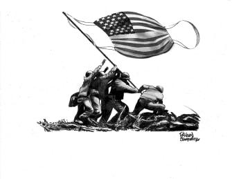 Editorial Cartoon U.S. Iwo Jima masks COVID