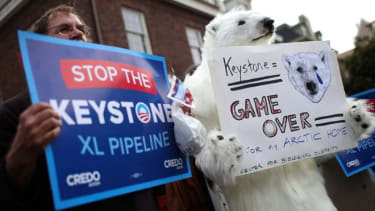 Demonstrators protest the Keystone Pipeline