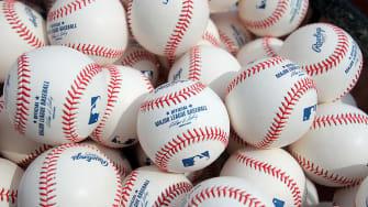 A pile of baseballs.