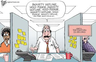Editorial Cartoon U.S. 2020 election anxiety
