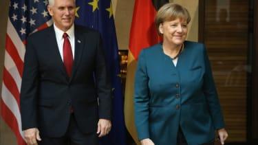 Mike Pence and Angela Merkel