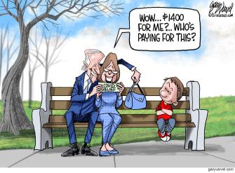 Political Cartoon U.S. biden covid stimulus