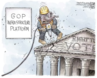 Political Cartoon U.S. gop infrastructure voter suppression