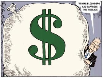 Political Cartoon U.S. Money Bag Bloomberg TV ads — Bob Englehart, Cagle
