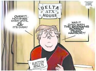 Political Cartoon U.S. Trump election Animal House John Belushi
