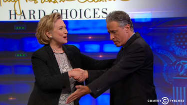 Jon Stewart ardently tries to get Hillary Clinton to declare her presidential run, kind of succeeds