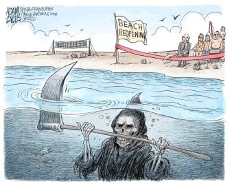 Editorial Cartoon U.S. coronavirus beach reopenings