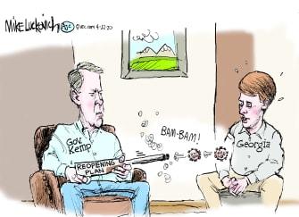 Political Cartoon U.S. Georgia reopen Brian Kemp coronavirus