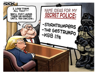 Political Cartoon U.S. Trump Barr militia