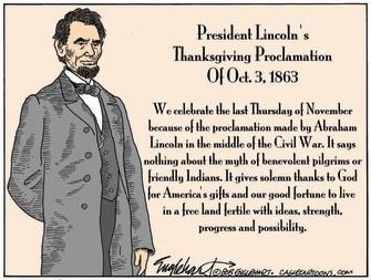 Editorial Cartoon U.S. Abraham Lincoln Thanksgiving