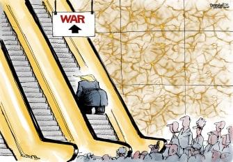 Political Cartoon U.S. Trump Escalator To War Iran