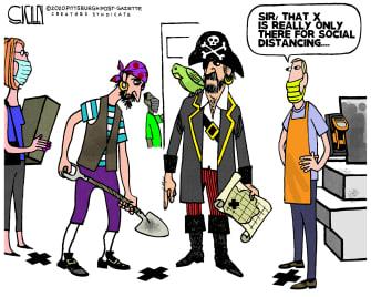 Editorial Cartoon U.S. social distancing pirates