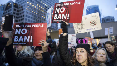 Protesters demonstrate in Seattle, Washington