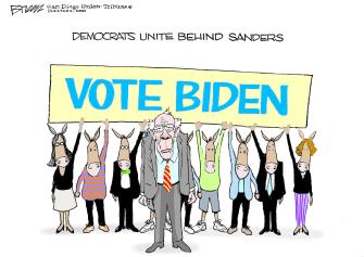 Political Cartoon U.S. democrats behind Sanders Biden