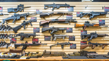 Assault weapons on display in Nevada.