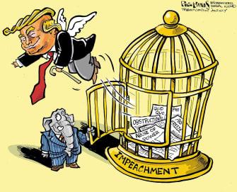 Political Cartoon U.S. Trump Senate GOP impeachment acquittal obstruction abuse of power