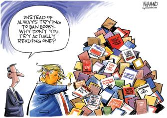 Political Cartoon U.S. Trump books ban