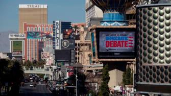Las Vegas advertises Democratic debate.