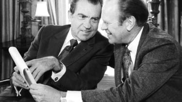 President Richard Nixon meets with then-House Minority Leader Gerald Ford at the White House in 1973.