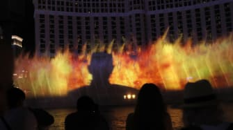 The Night King is projected on the Bellagio fountains.
