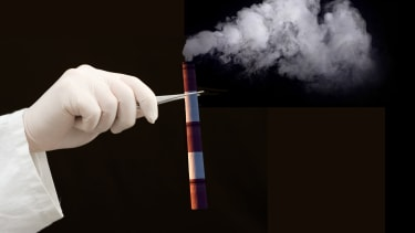 Scientist uses tweezers to hold a test tube thats actually a smokestack because science isnt a substitute for cutting emissions