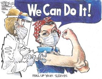 Editorial Cartoon U.S. we can do it covid vaccines