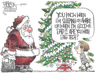 Editorial Cartoon U.S. Christmas Santa big tech