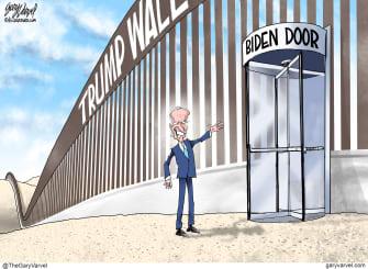 Political Cartoon U.S. Biden Trump wall Mexico