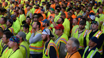 Shell employees at a Trump rally.