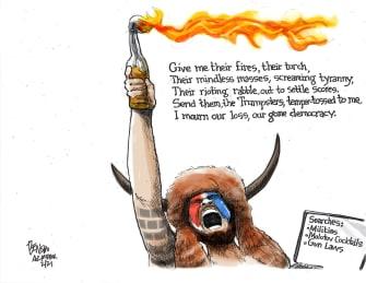 Political Cartoon U.S. gop right wing statue of liberty