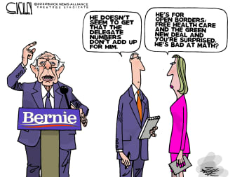 Political Cartoon U.S. Sanders losing delegates bad health care green new deal open boarders