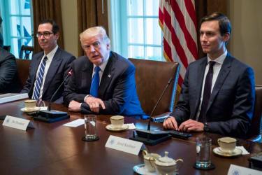 Jared Kushner and Treasury Secretary Steven Mnuchin with Trump