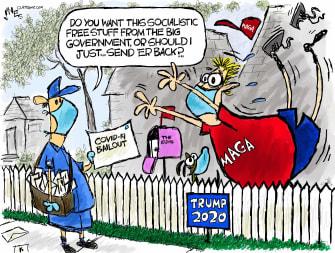 Political Cartoon U.S. Trump MAGA COVID-19 bailout tripping socialism