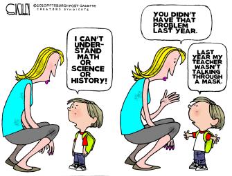 Editorial Cartoon U.S. school covid masks