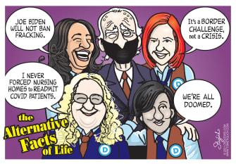 Political Cartoon U.S. biden alternative facts of life