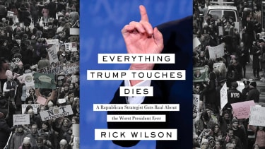 A book by Rick Wilson and protesters.