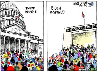 Political Cartoon U.S. trump biden capitol riot vaccines covid