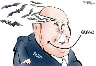 Political Cartoon U.S. Giuliani hair dye