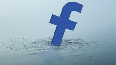 A sinking Facebook logo.