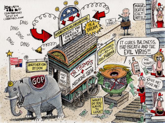 Political Cartoon GOP Trump showman circus coronavirus elixr