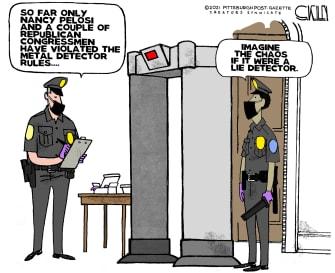 Political Cartoon U.S. pelosi metal detectors